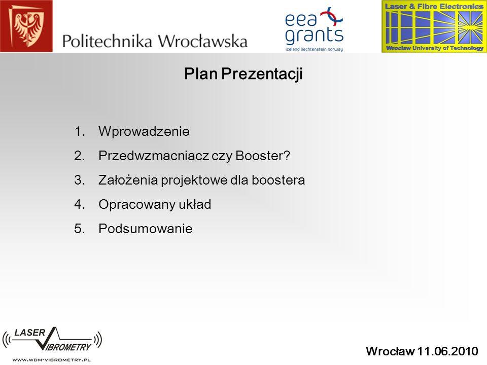 Wrocław 11.06.2010 Plan Prezentacji 1.Wprowadzenie 2.Przedwzmacniacz czy Booster? 3.Założenia projektowe dla boostera 4.Opracowany układ 5.Podsumowani