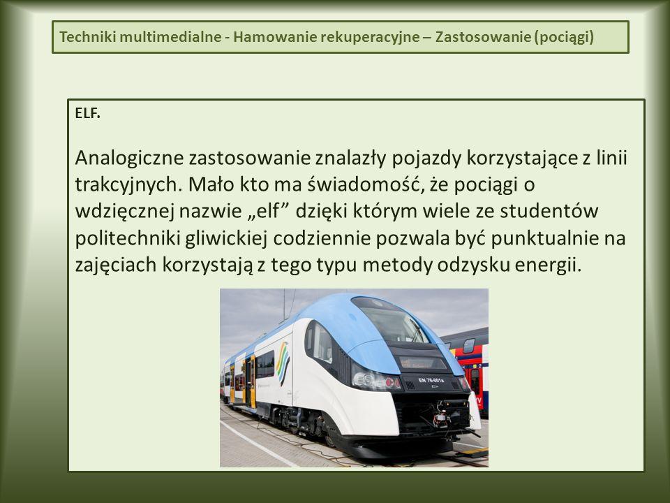 ELF.Analogiczne zastosowanie znalazły pojazdy korzystające z linii trakcyjnych.