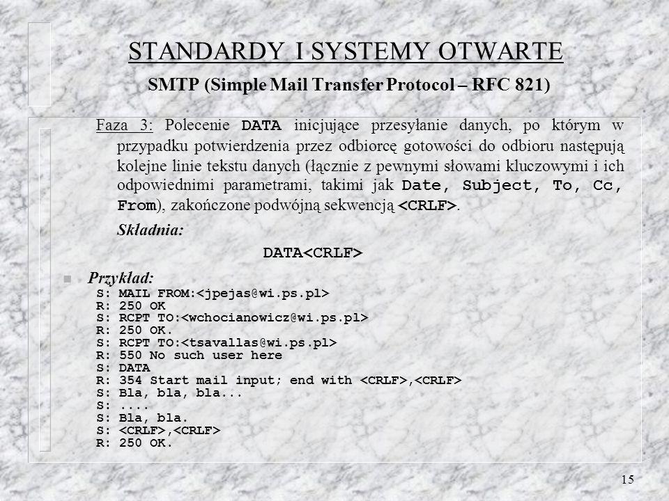 15 STANDARDY I SYSTEMY OTWARTE SMTP (Simple Mail Transfer Protocol – RFC 821) Faza 3: Polecenie DATA inicjujące przesyłanie danych, po którym w przypadku potwierdzenia przez odbiorcę gotowości do odbioru następują kolejne linie tekstu danych (łącznie z pewnymi słowami kluczowymi i ich odpowiednimi parametrami, takimi jak Date, Subject, To, Cc, From ), zakończone podwójną sekwencją.