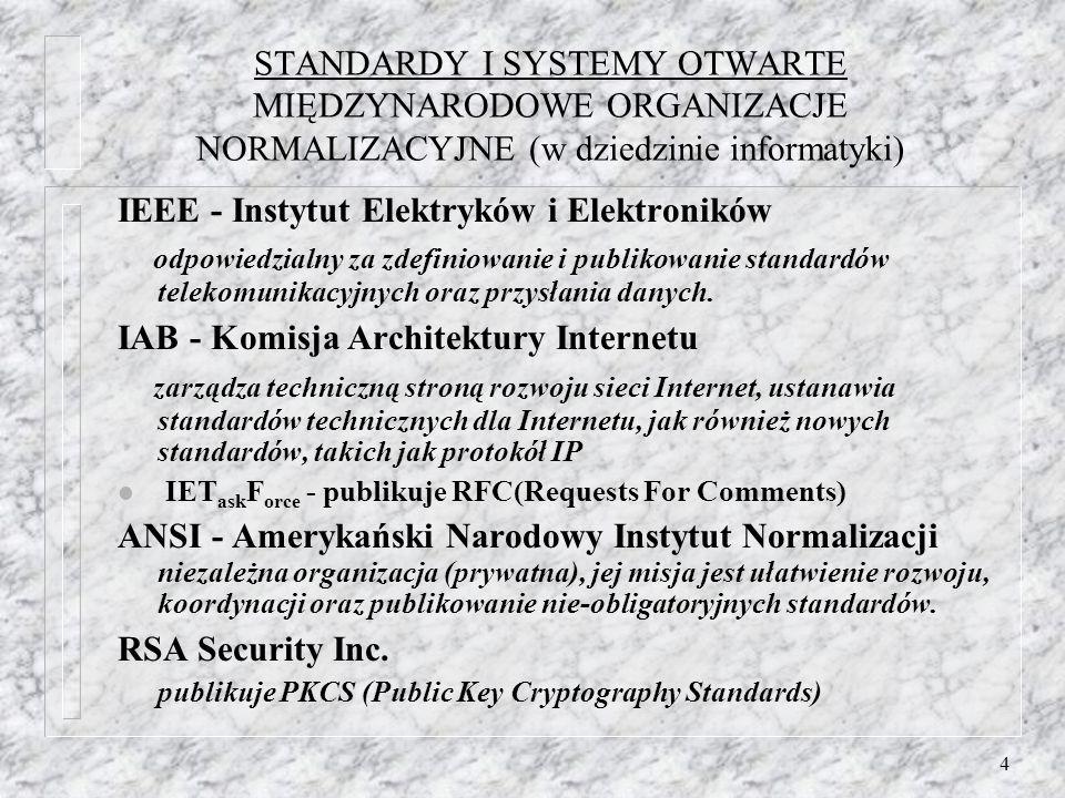 4 STANDARDY I SYSTEMY OTWARTE MIĘDZYNARODOWE ORGANIZACJE NORMALIZACYJNE (w dziedzinie informatyki) IEEE - Instytut Elektryków i Elektroników odpowiedzialny za zdefiniowanie i publikowanie standardów telekomunikacyjnych oraz przysłania danych.