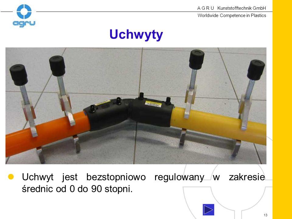 A G R U Kunststofftechnik GmbH Worldwide Competence in Plastics 13 Uchwyty Uchwyt jest bezstopniowo regulowany w zakresie średnic od 0 do 90 stopni.