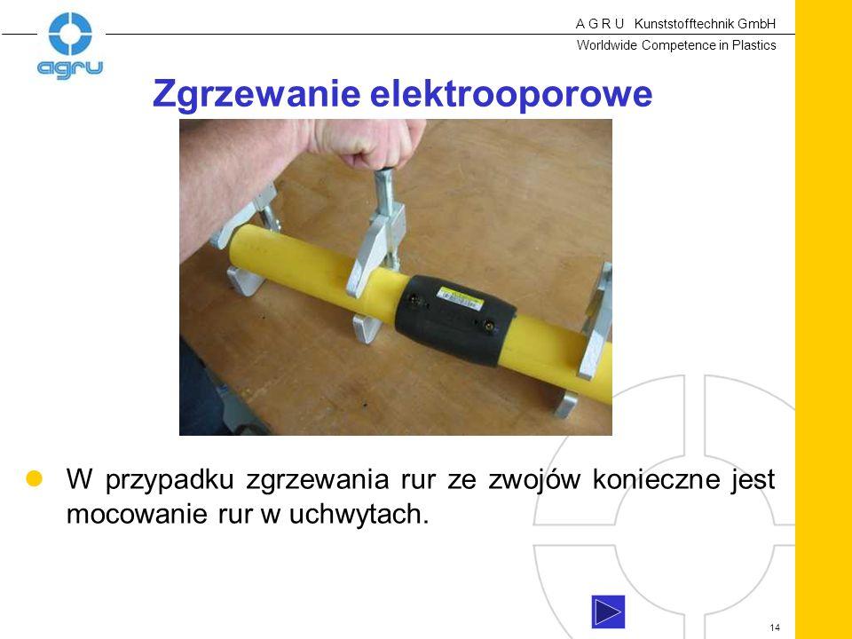 A G R U Kunststofftechnik GmbH Worldwide Competence in Plastics 14 W przypadku zgrzewania rur ze zwojów konieczne jest mocowanie rur w uchwytach.