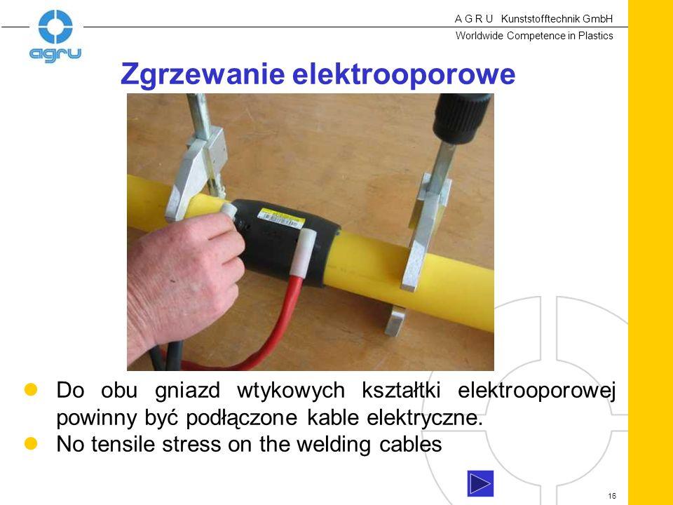 A G R U Kunststofftechnik GmbH Worldwide Competence in Plastics 16 Do obu gniazd wtykowych kształtki elektrooporowej powinny być podłączone kable elektryczne.