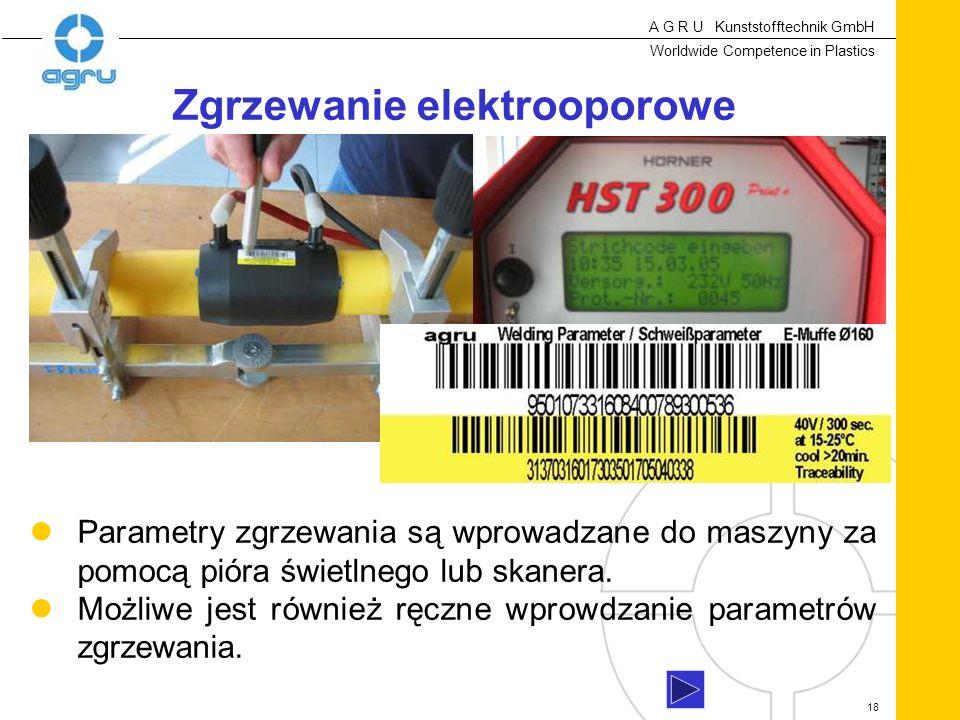 A G R U Kunststofftechnik GmbH Worldwide Competence in Plastics 18 Parametry zgrzewania są wprowadzane do maszyny za pomocą pióra świetlnego lub skanera.