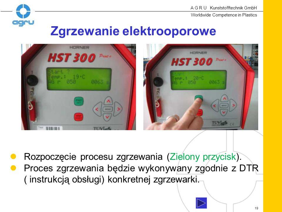 A G R U Kunststofftechnik GmbH Worldwide Competence in Plastics 19 Rozpoczęcie procesu zgrzewania (Zielony przycisk).