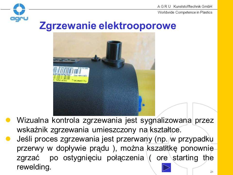 A G R U Kunststofftechnik GmbH Worldwide Competence in Plastics 21 Wizualna kontrola zgrzewania jest sygnalizowana przez wskaźnik zgrzewania umieszczony na kształtce.