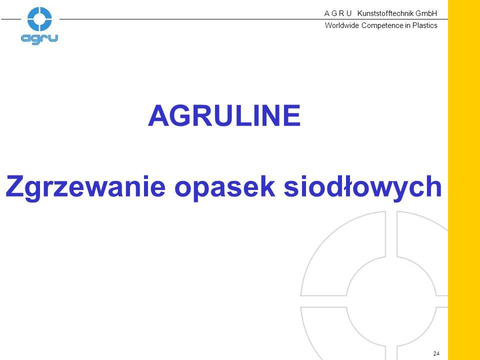 A G R U Kunststofftechnik GmbH Worldwide Competence in Plastics 24 AGRULINE Zgrzewanie opasek siodłowych