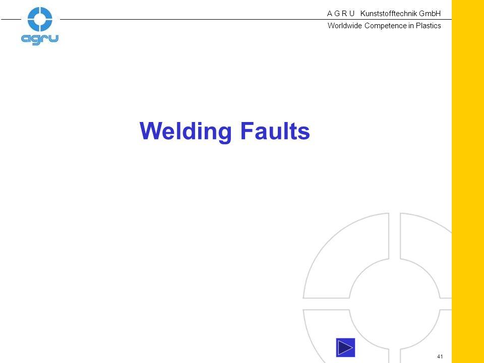 A G R U Kunststofftechnik GmbH Worldwide Competence in Plastics 41 Welding Faults