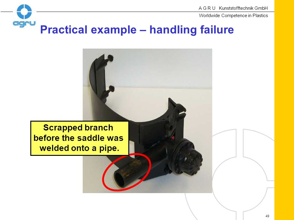 A G R U Kunststofftechnik GmbH Worldwide Competence in Plastics 49 Scrapped branch before the saddle was welded onto a pipe. Practical example – handl