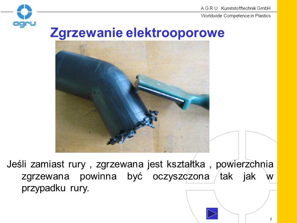 A G R U Kunststofftechnik GmbH Worldwide Competence in Plastics 8 Jeśli zamiast rury, zgrzewana jest kształtka, powierzchnia zgrzewana powinna być oczyszczona tak jak w przypadku rury.