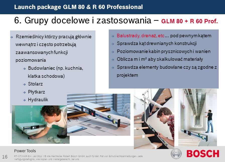 Launch package GLM 80 & R 60 Professional 16 PT-MT/MKP-EA | Jan 2011 | © Alle Rechte bei Robert Bosch GmbH, auch für den Fall von Schutzrechtsanmeldungen.