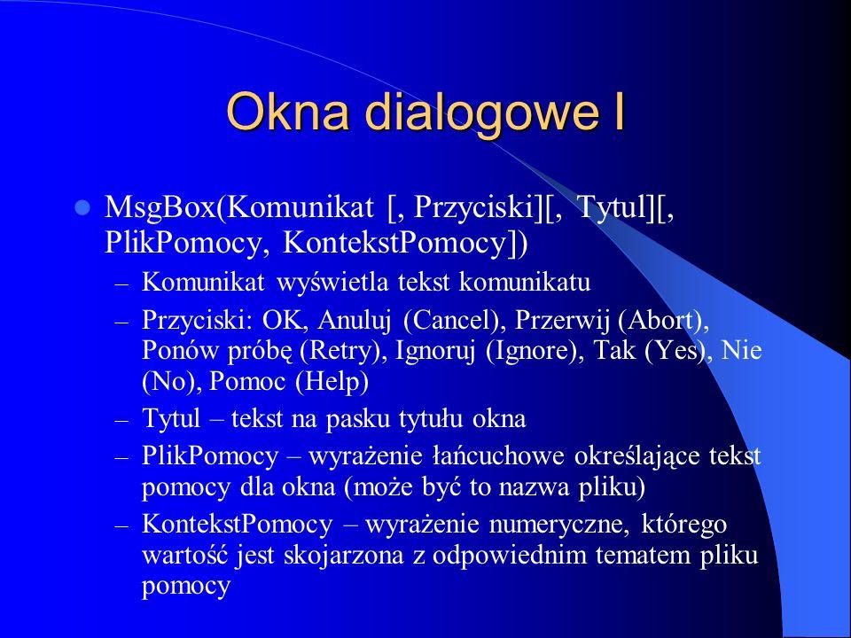 Okna dialogowe I MsgBox(Komunikat [, Przyciski][, Tytul][, PlikPomocy, KontekstPomocy]) – Komunikat wyświetla tekst komunikatu – Przyciski: OK, Anuluj