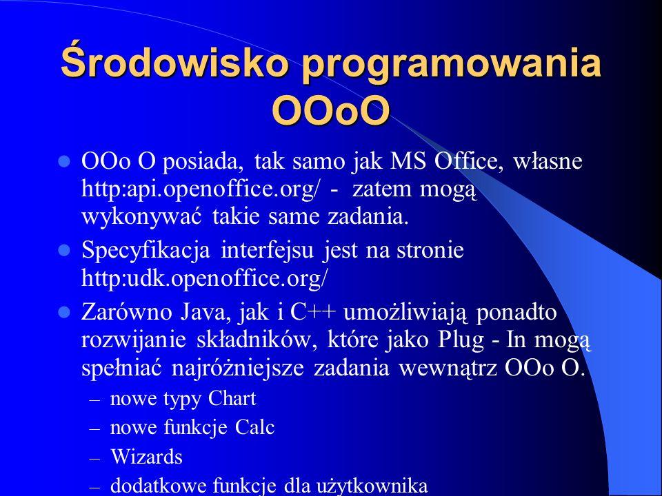 Środowisko programowania OOoO OOo O posiada, tak samo jak MS Office, własne http:api.openoffice.org/ - zatem mogą wykonywać takie same zadania. Specyf