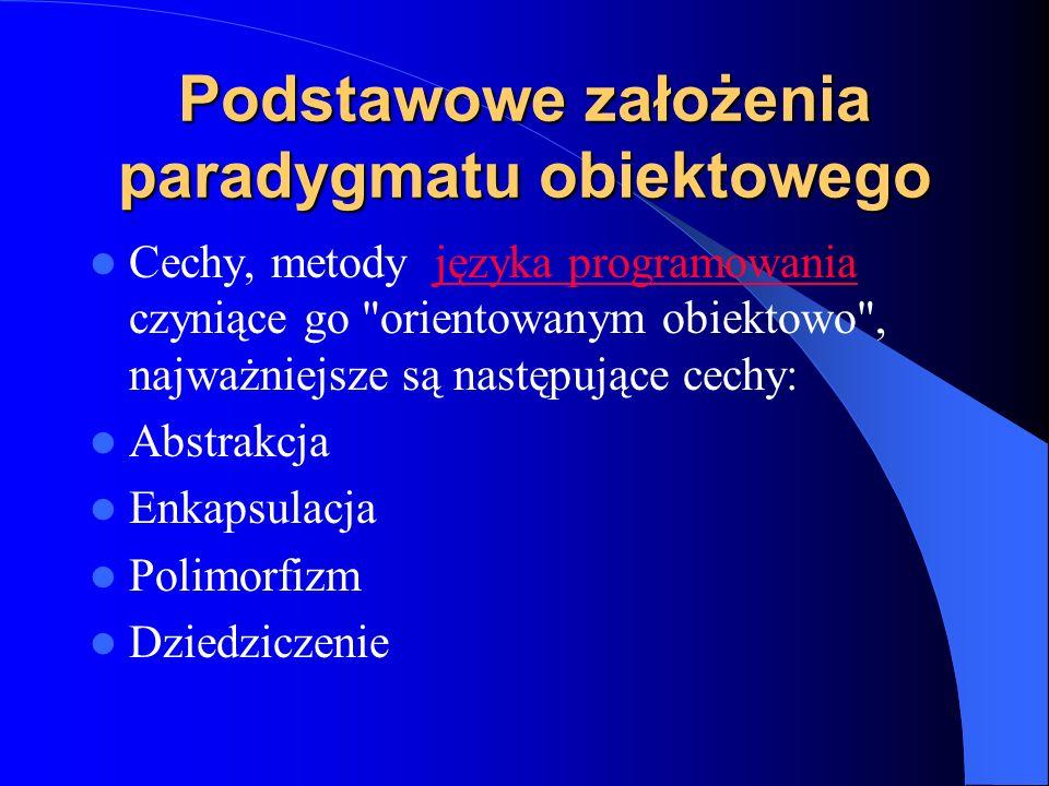 Podstawowe założenia paradygmatu obiektowego Cechy, metody języka programowania czyniące go