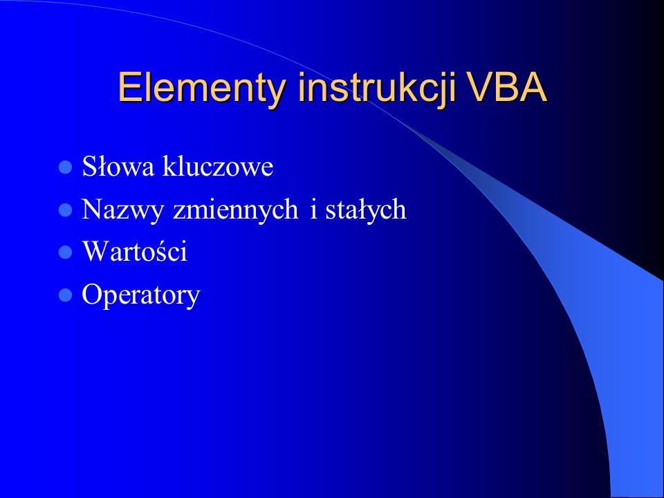 Elementy instrukcji VBA Słowa kluczowe Nazwy zmiennych i stałych Wartości Operatory