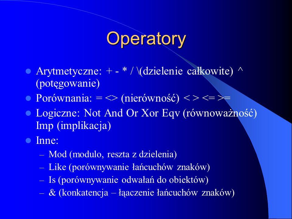 Operatory Arytmetyczne: + - * / \(dzielenie całkowite) ^ (potęgowanie) Porównania: = <> (nierówność) = Logiczne: Not And Or Xor Eqv (równoważność) Imp