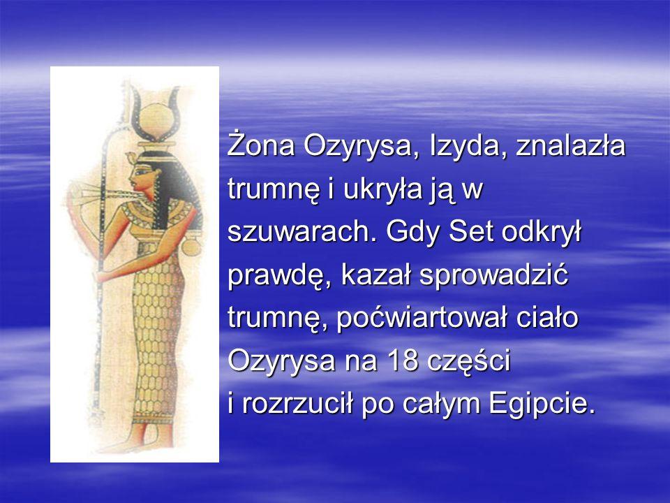 Żona Ozyrysa, Izyda, znalazła Żona Ozyrysa, Izyda, znalazła trumnę i ukryła ją w trumnę i ukryła ją w szuwarach. Gdy Set odkrył szuwarach. Gdy Set odk