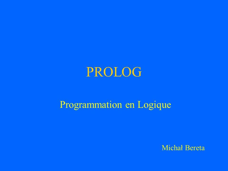 Programmation en Logique Stworzony w 1971 roku przez Alaina Colmeraurera i Phillipe a Roussela na Uniwersytecie w Marsylii Podczas pracy nad zastosowaniem logiki predykatow (klauzul Horna) do NLP Pierwszy kompilator Prologu powstal w Algolu Od polowy lat 70-tych wspolpraca z Robertem Kowalskim na Uniwersytecie w Edynburgu (Szkocja)