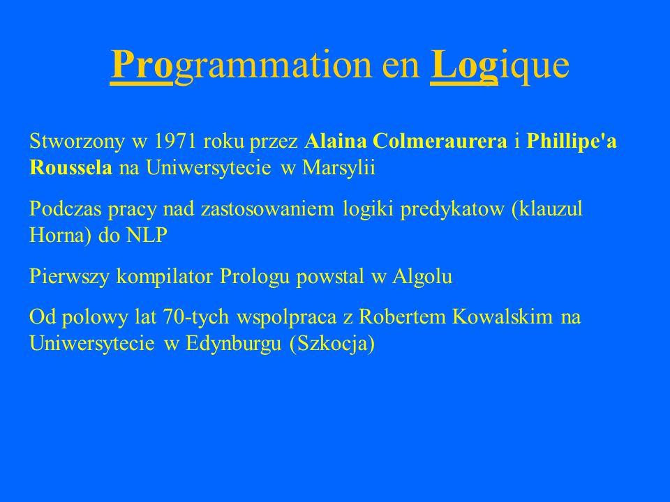 Implementacje Allegro Prolog ( http://www.franz.com/products/prolog/ ) ALS Prolog ( http://www.als.com/ ) Amzi.
