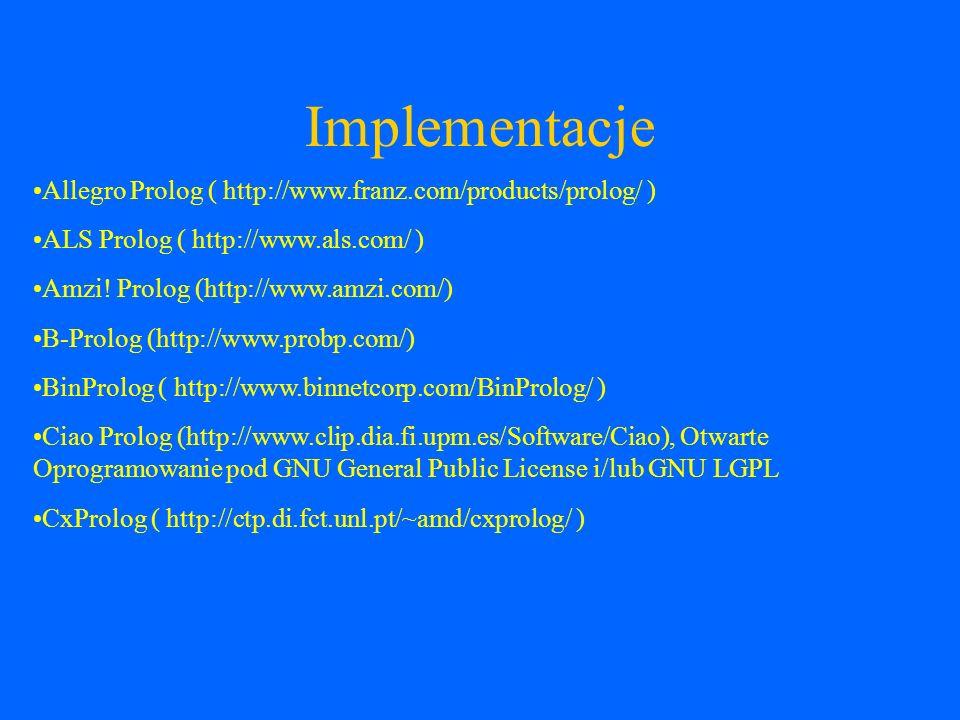 Implementacje GNU Prolog (http://gnu-prolog.inria.fr) też zwany gprolog, Otwarte Oprogramowanie pod GNU General Public License hProlog ( http://www.cs.kuleuven.ac.be/~bmd/hProlog/ ) ilProlog ( http://www.pharmadm.com/dmax.asp ) LPA Prolog (http://www.lpa.co.uk/) MINERVA (http://www.ifcomputer.co.jp/MINERVA/) komercyjny kompilator ISO- Prolog w 100% Java MobileProlog ( http://67.15.41.154/mprolog/ ), C# port Winikoffa WProlog NanoProlog ( http://ctp.di.fct.unl.pt/~amd/cxprolog/ )
