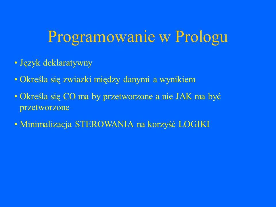 Rozwiązanie w Prologu miejsce(W,D,A,B,G) :- L0 = [1,2,3,4,5], G = 3, /* Grzegorz zajął trzecie miejsce */ select(W, L0, L1), W \= 1, /* Wincenty nie zajął pierwszego miejsca */