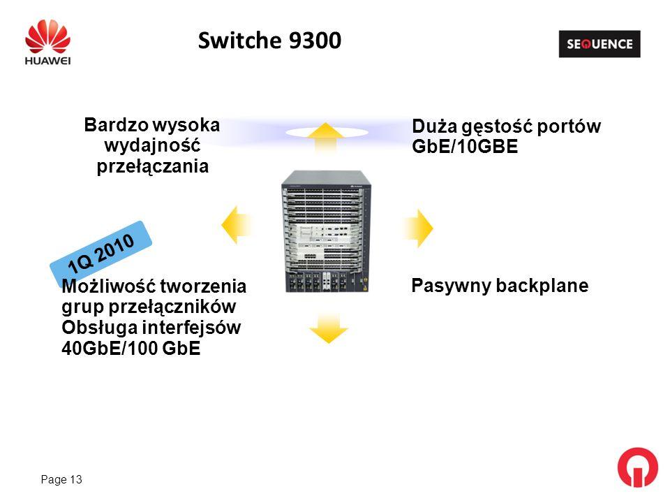 Page 13 Switche 9300 1Q 2010 Możliwość tworzenia grup przełączników Obsługa interfejsów 40GbE/100 GbE Bardzo wysoka wydajność przełączania Duża gęstość portów GbE/10GBE Pasywny backplane