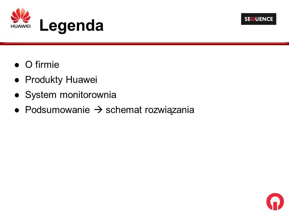 O firmie Produkty Huawei System monitorownia Podsumowanie schemat rozwiązania Legenda