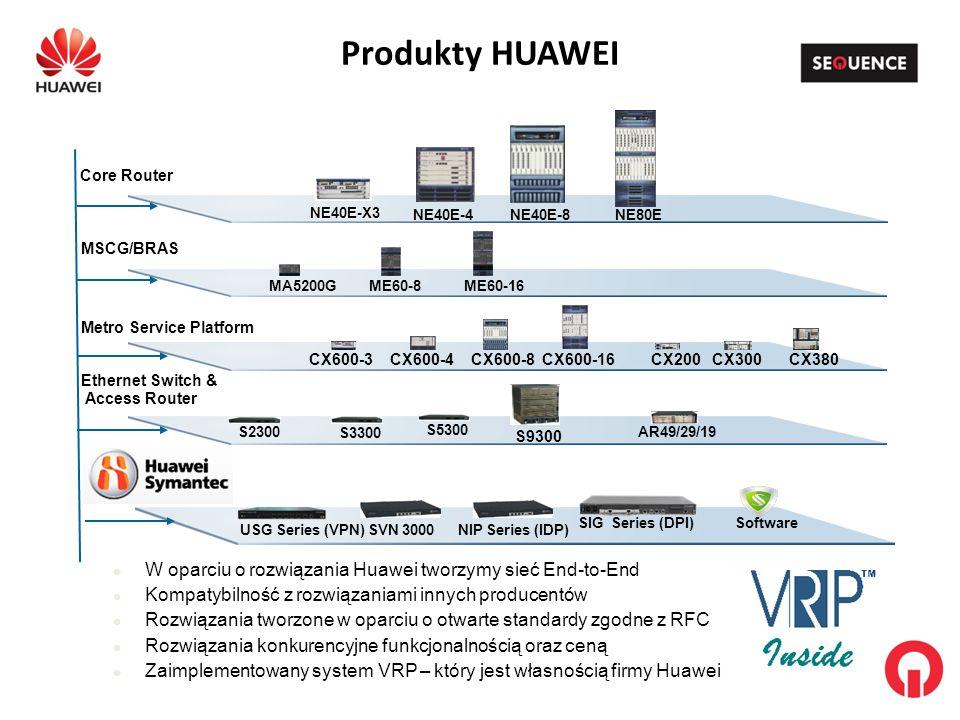 Produkty HUAWEI W oparciu o rozwiązania Huawei tworzymy sieć End-to-End Kompatybilność z rozwiązaniami innych producentów Rozwiązania tworzone w oparciu o otwarte standardy zgodne z RFC Rozwiązania konkurencyjne funkcjonalnością oraz ceną Zaimplementowany system VRP – który jest własnością firmy Huawei MSCG/BRAS Ethernet Switch & Access Router Core Router Metro Service Platform NE80ENE40E-8NE40E-4 ME60-16ME60-8MA5200G CX600-16 CX380CX300 CX600-8CX600-4CX600-3CX200 S9300 S2300AR49/29/19 S3300 S5300 USG Series (VPN) SoftwareSIG Series (DPI) NIP Series (IDP)SVN 3000 NE40E-X3