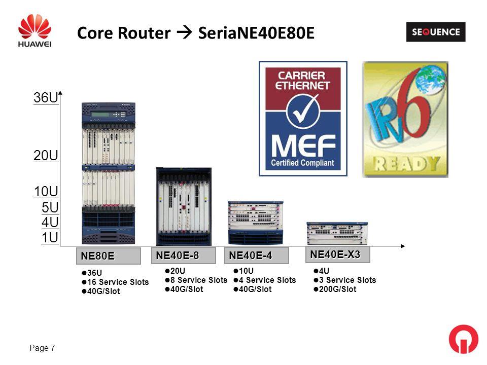 Page 7 Core Router SeriaNE40E80E 36U 20U 5U 4U 1U 10U 4 Service Slots 40G/Slot 20U 8 Service Slots 40G/Slot 36U 16 Service Slots 40G/Slot 4U 3 Service Slots 200G/Slot NE40E-4 NE40E-X3 NE40E-8 NE80E 10U