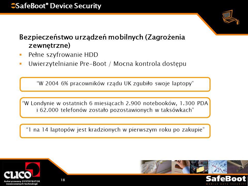 18 SafeBoot ® Device Security Bezpieczeństwo urządzeń mobilnych (Zagrożenia zewnętrzne) Pełne szyfrowanie HDD Uwierzytelnianie Pre-Boot / Mocna kontrola dostępu W 2004 6% pracowników rządu UK zgubiło swoje laptopy W Londynie w ostatnich 6 miesiącach 2.900 notebooków, 1.300 PDA i 62.000 telefonów zostało pozostawionych w taksówkach 1 na 14 laptopów jest kradzionych w pierwszym roku po zakupie