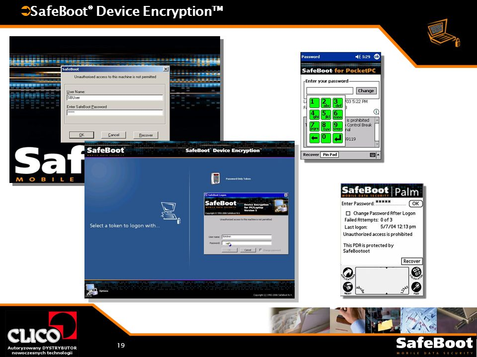 19 SafeBoot ® Device Encryption