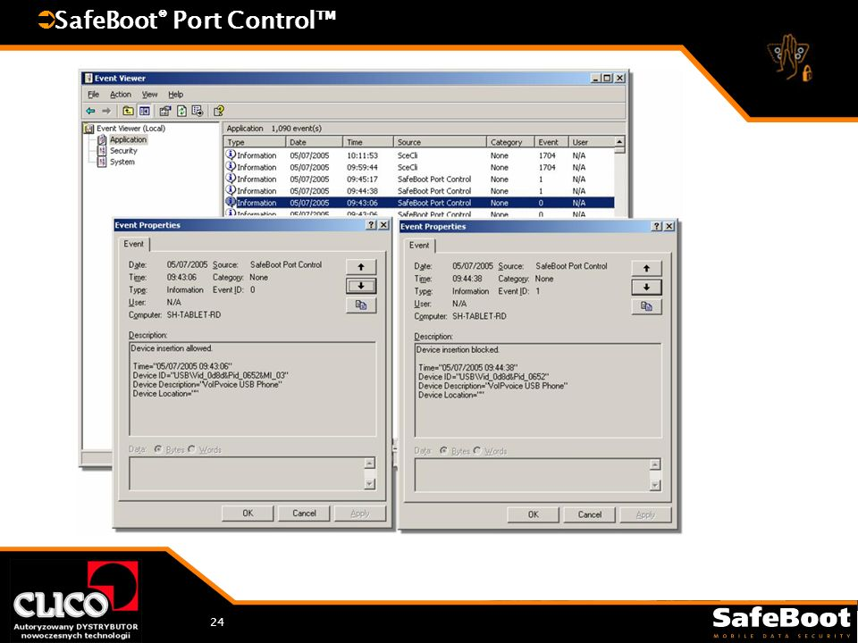 24 SafeBoot ® Port Control