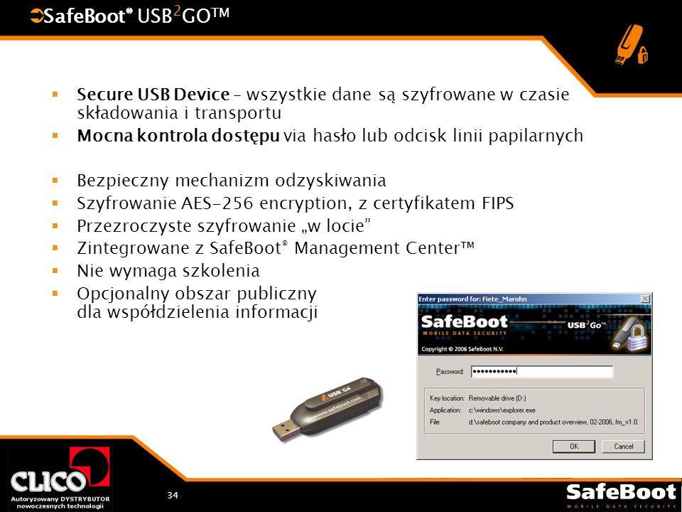 34 SafeBoot ® USB 2 GO TM Secure USB Device – wszystkie dane są szyfrowane w czasie składowania i transportu Mocna kontrola dostępu via hasło lub odcisk linii papilarnych Bezpieczny mechanizm odzyskiwania Szyfrowanie AES-256 encryption, z certyfikatem FIPS Przezroczyste szyfrowanie w locie Zintegrowane z SafeBoot ® Management Center Nie wymaga szkolenia Opcjonalny obszar publiczny dla współdzielenia informacji