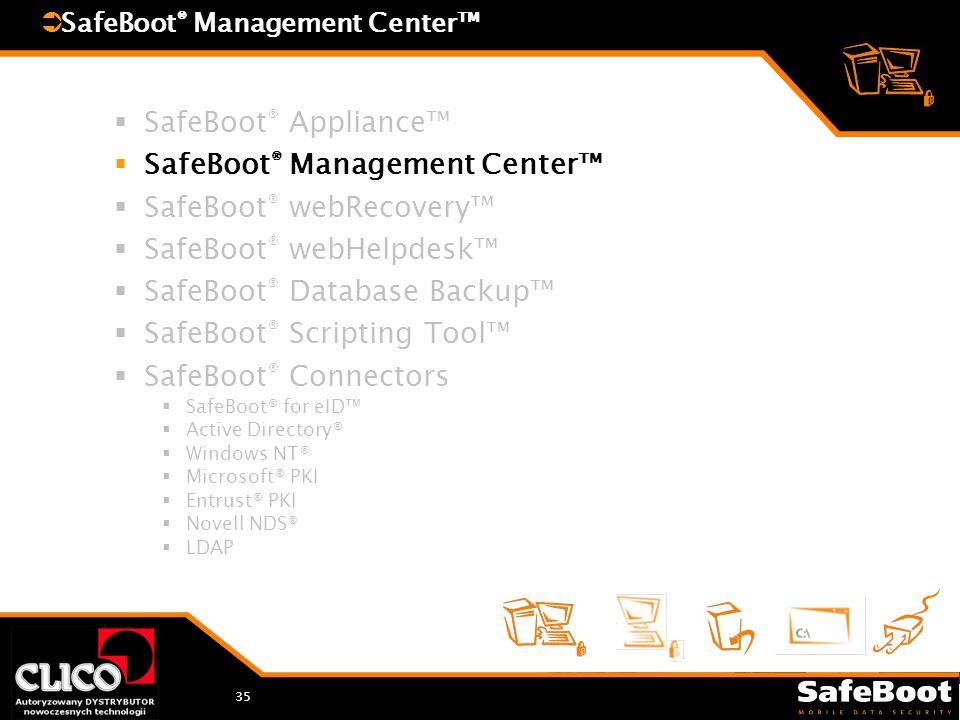 35 SafeBoot ® Appliance SafeBoot ® Management Center SafeBoot ® webRecovery SafeBoot ® webHelpdesk SafeBoot ® Database Backup SafeBoot ® Scripting Too