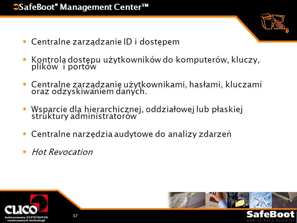 37 SafeBoot ® Management Center Centralne zarządzanie ID i dostępem Kontrola dostępu użytkowników do komputerów, kluczy, plików i portów Centralne zarządzanie użytkownikami, hasłami, kluczami oraz odzyskiwaniem danych.