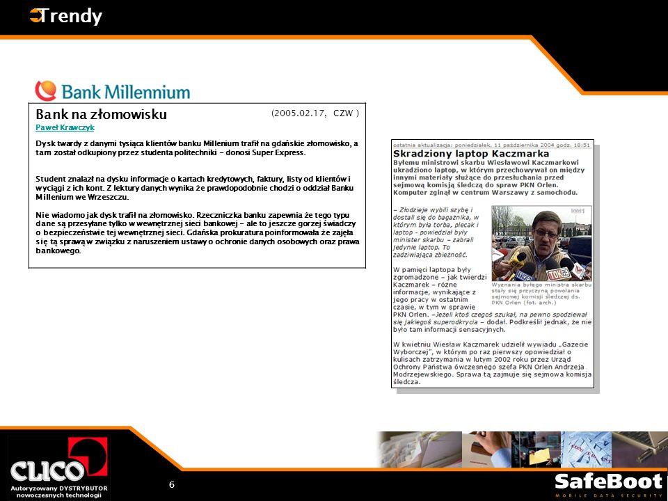 7 Trendy Ponad 60% wszystkich danych korporacyjnych jest składowanych na niezabezpieczonych PC i laptopach 97% skradzionych komputerów nie jest nigdy odzyskiwanych Średnia strata z powodu kradzieży laptopa, to $61,881 * CSI/FBI Computer Crime and Security Survey 2004 Search Security Newsletter, March, 2002 CSI/FBI Computer Crime and Security Survey 2002 CSI/FBI Computer Crime and Security Survey 2001