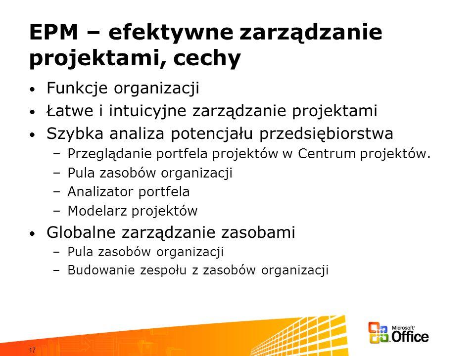 17 EPM – efektywne zarządzanie projektami, cechy Funkcje organizacji Łatwe i intuicyjne zarządzanie projektami Szybka analiza potencjału przedsiębiors