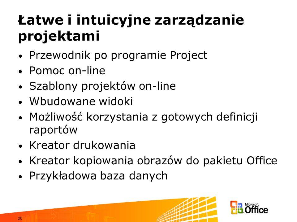 20 Łatwe i intuicyjne zarządzanie projektami Przewodnik po programie Project Pomoc on-line Szablony projektów on-line Wbudowane widoki Możliwość korzy