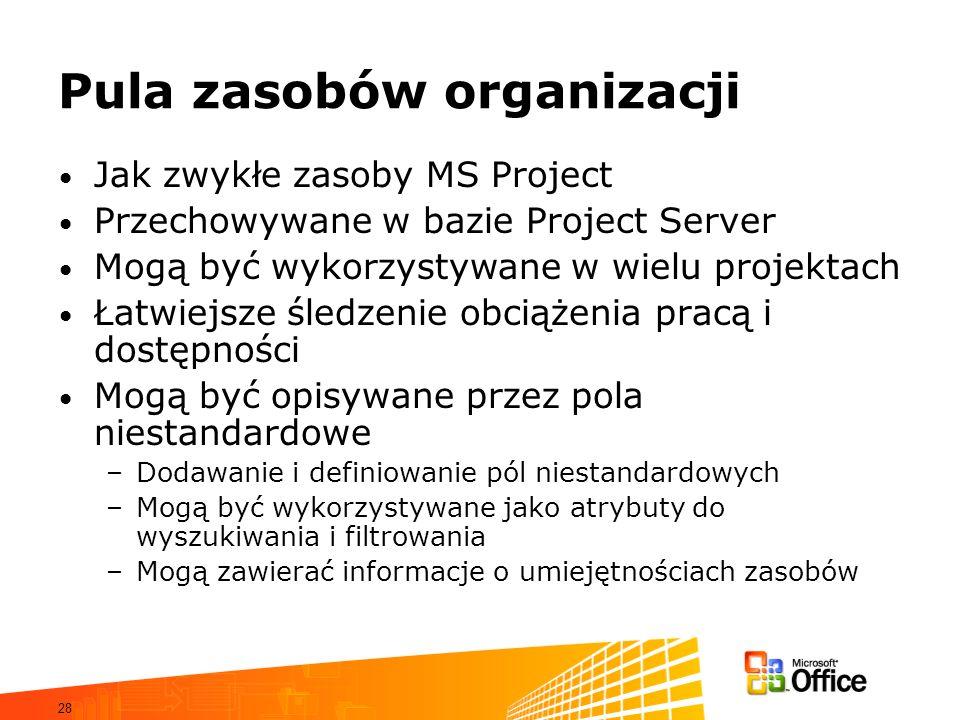 28 Pula zasobów organizacji Jak zwykłe zasoby MS Project Przechowywane w bazie Project Server Mogą być wykorzystywane w wielu projektach Łatwiejsze śl