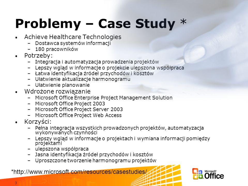 3 Problemy – Case Study * Achieve Healthcare Technologies –Dostawca systemów informacji –180 pracowników Potrzeby: –Integracja i automatyzacja prowadz