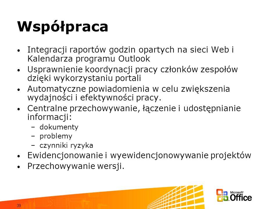 39 Współpraca Integracji raportów godzin opartych na sieci Web i Kalendarza programu Outlook Usprawnienie koordynacji pracy członków zespołów dzięki w