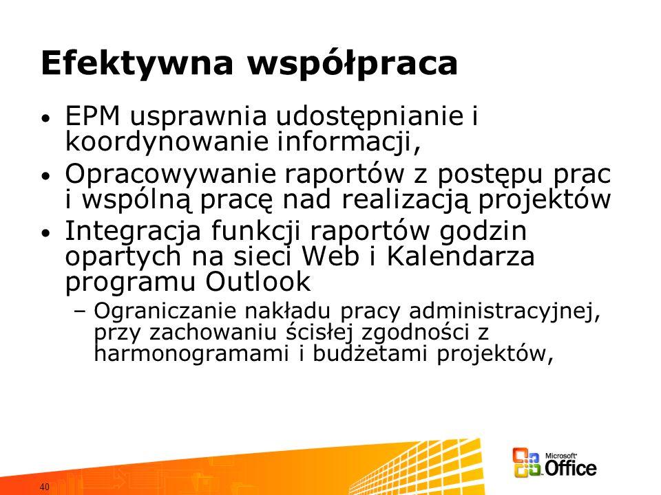 40 Efektywna współpraca EPM usprawnia udostępnianie i koordynowanie informacji, Opracowywanie raportów z postępu prac i wspólną pracę nad realizacją p