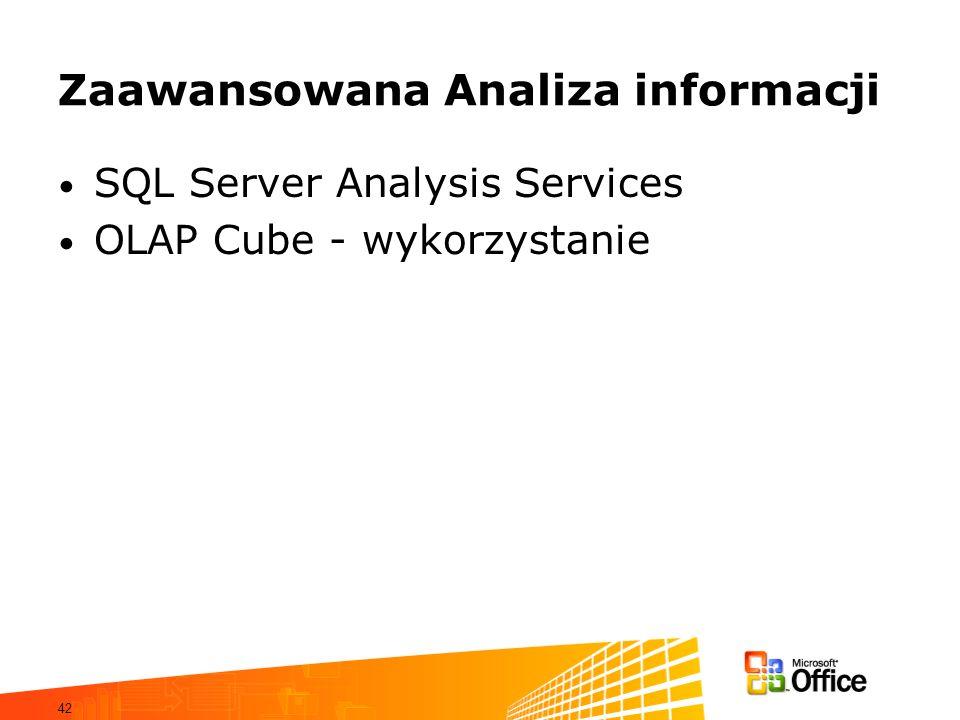 42 Zaawansowana Analiza informacji SQL Server Analysis Services OLAP Cube - wykorzystanie