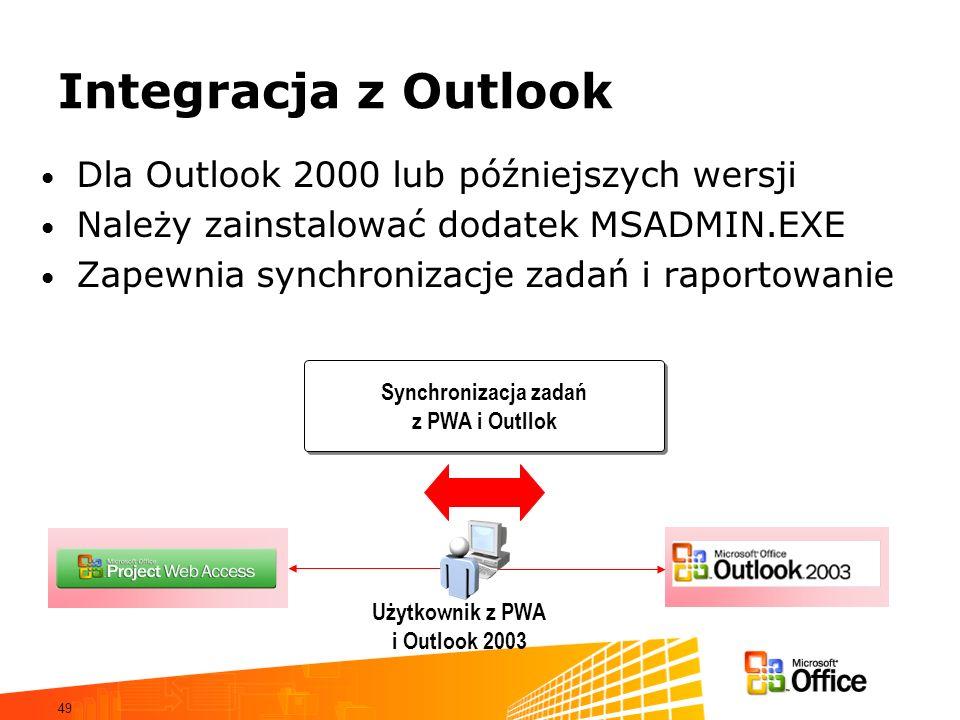 49 Integracja z Outlook Dla Outlook 2000 lub późniejszych wersji Należy zainstalować dodatek MSADMIN.EXE Zapewnia synchronizacje zadań i raportowanie