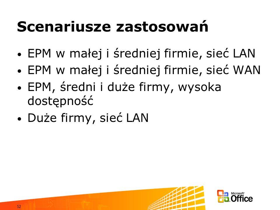 52 Scenariusze zastosowań EPM w małej i średniej firmie, sieć LAN EPM w małej i średniej firmie, sieć WAN EPM, średni i duże firmy, wysoka dostępność