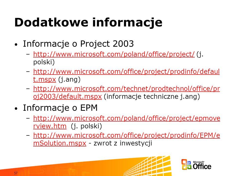 57 Dodatkowe informacje Informacje o Project 2003 –http://www.microsoft.com/poland/office/project/ (j. polski)http://www.microsoft.com/poland/office/p