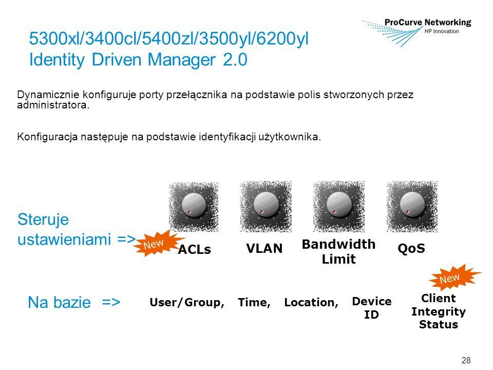 28 5300xl/3400cl/5400zl/3500yl/6200yl Identity Driven Manager 2.0 Dynamicznie konfiguruje porty przełącznika na podstawie polis stworzonych przez administratora.