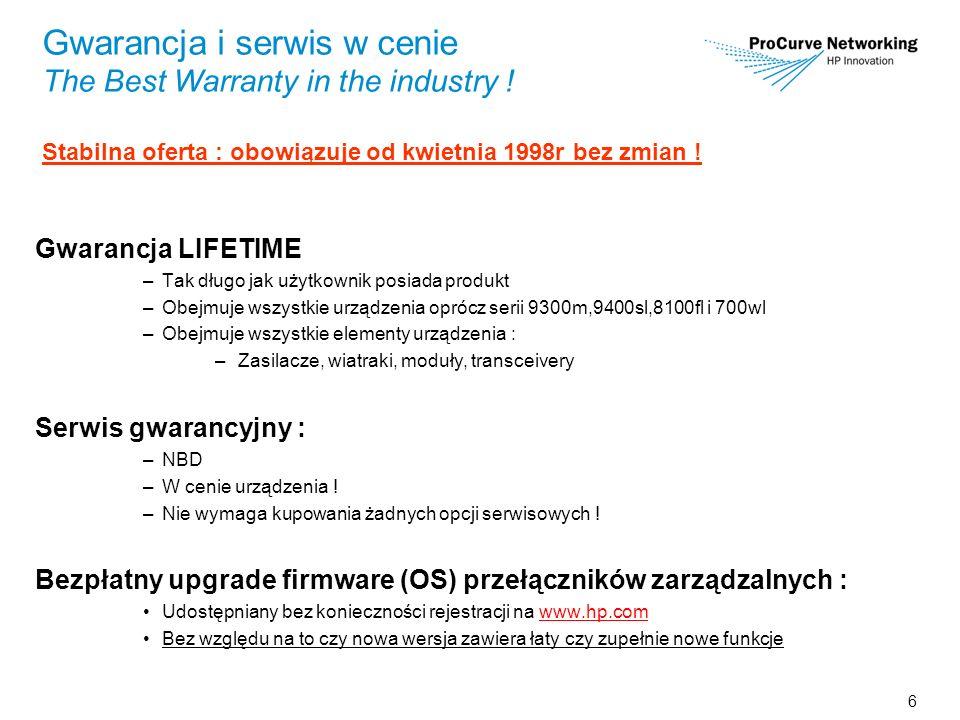 6 Gwarancja i serwis w cenie The Best Warranty in the industry ! Stabilna oferta : obowiązuje od kwietnia 1998r bez zmian ! Gwarancja LIFETIME –Tak dł