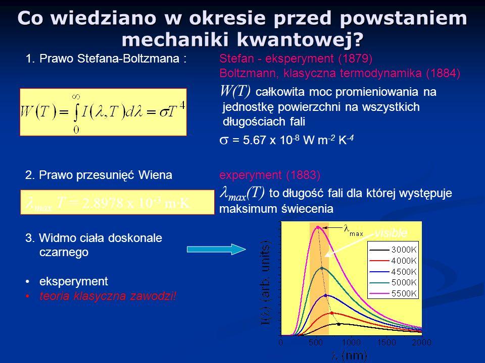 Co wiedziano w okresie przed powstaniem mechaniki kwantowej? 1.Prawo Stefana-Boltzmana :Stefan - eksperyment (1879) Boltzmann, klasyczna termodynamika