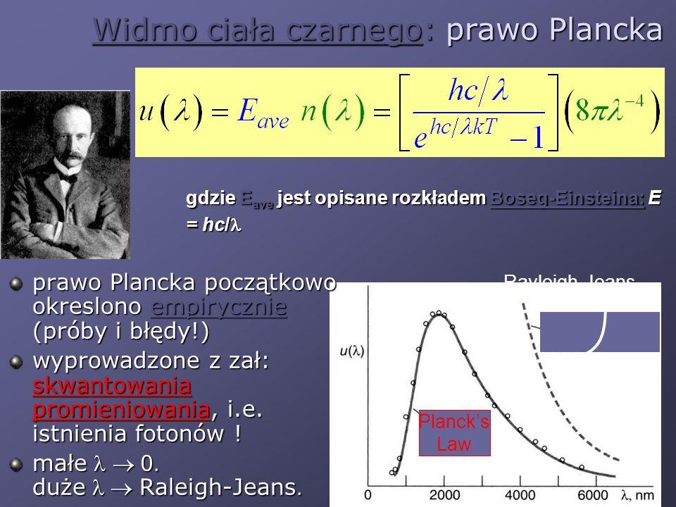 Rayleigh-Jeans Widmo ciała czarnego: prawo Plancka prawo Plancka początkowo okreslono empirycznie (próby i błędy!) wyprowadzone z zał: skwantowania pr